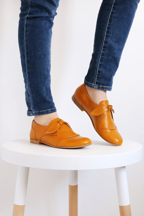 Leather shoes yellow mustard tie women's flats by ADIKILAV on Etsy