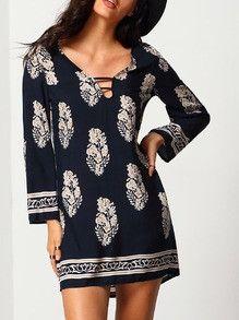 shift dresses, tribal print dress, summer dress, vintage print dress - Lyfie