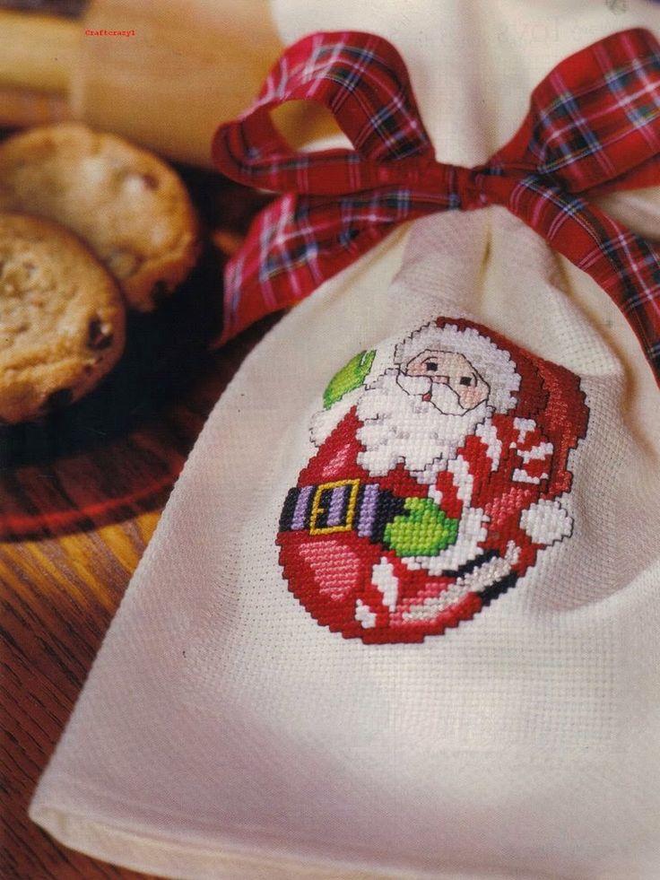 Вышивка крестом / Cross stitch : Санта Клаус-неваляшка - цветные схемы вышивки