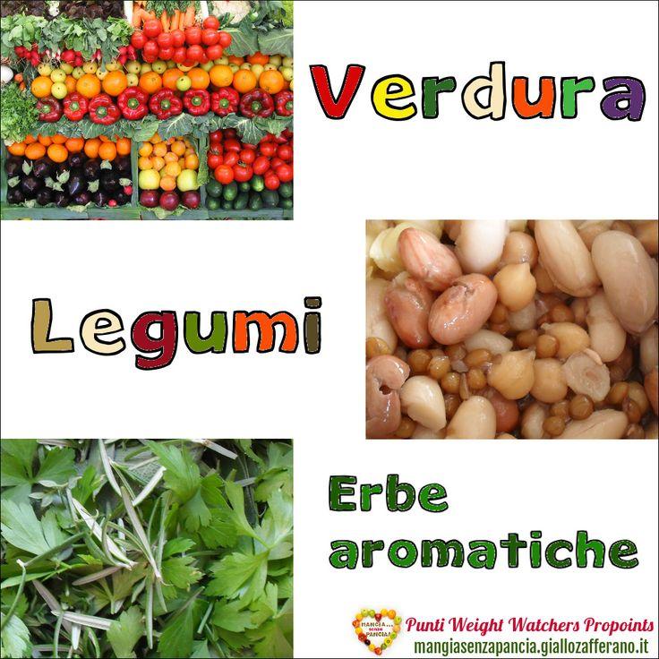 Lista Punti Weight Watchers Verdura, Legumi, Erbe aromatiche per calcolare il valore di questi cibi nel diario alimentare quotidiano