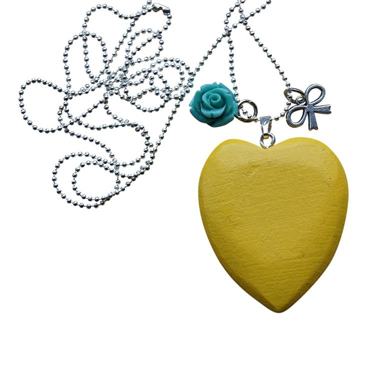 Ketting WOODEN LOVE - Warm Geel