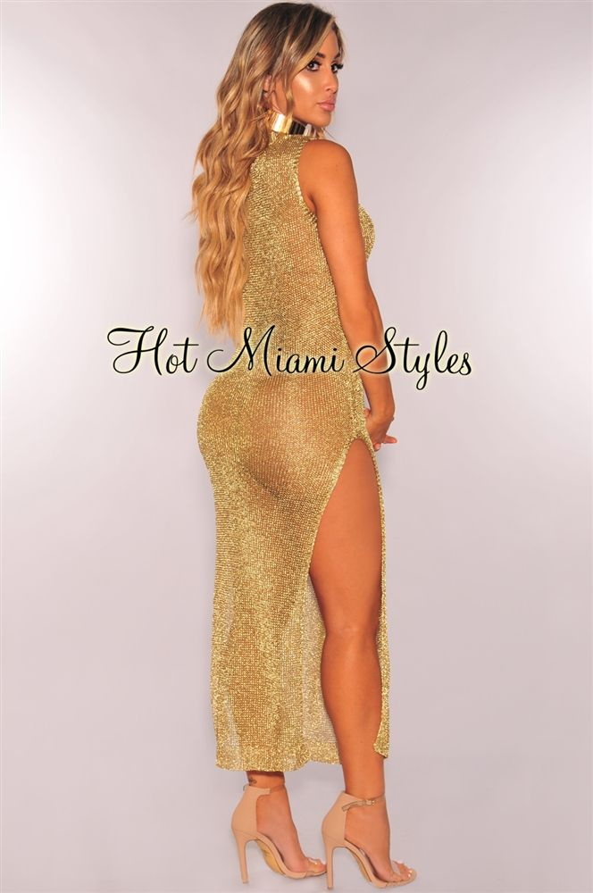 b08154b0327f2 Gold Metallic Knit Double Slit Maxi Cover Up Dress | Beach Cover ...