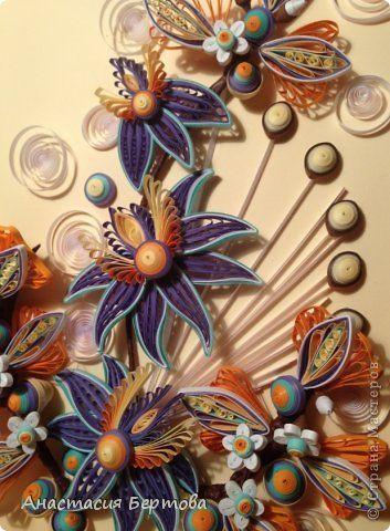 Картина панно рисунок Квиллинг Орхидея Бумажные полосы Клей Проволока фото 2