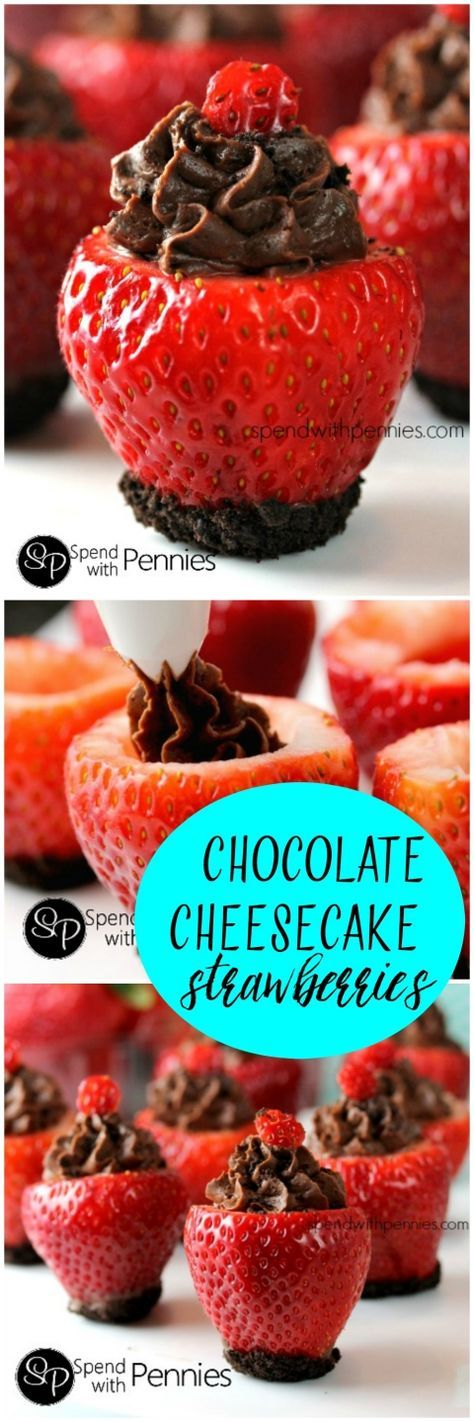 Chocolate Cheesecake Stuffed Strawberries! These are easy to make and so addictive. Fresh juicy strawberries filled with a rich no bake cheesecake!