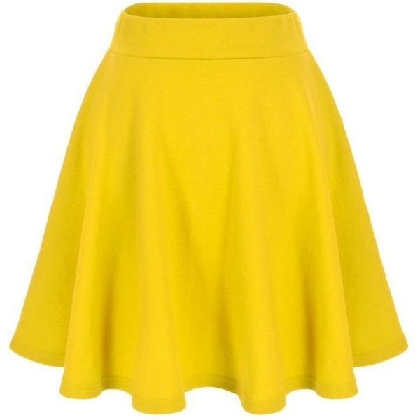 Basic Solid Stretchy Cotton High Waist A-line Flared Skater Mini Skirt ($16) ❤ liked on Polyvore featuring skirts, mini skirts, high waisted flare skirt, high-waisted skirts, yellow skater skirt, skater skirts and high waisted a line skirt