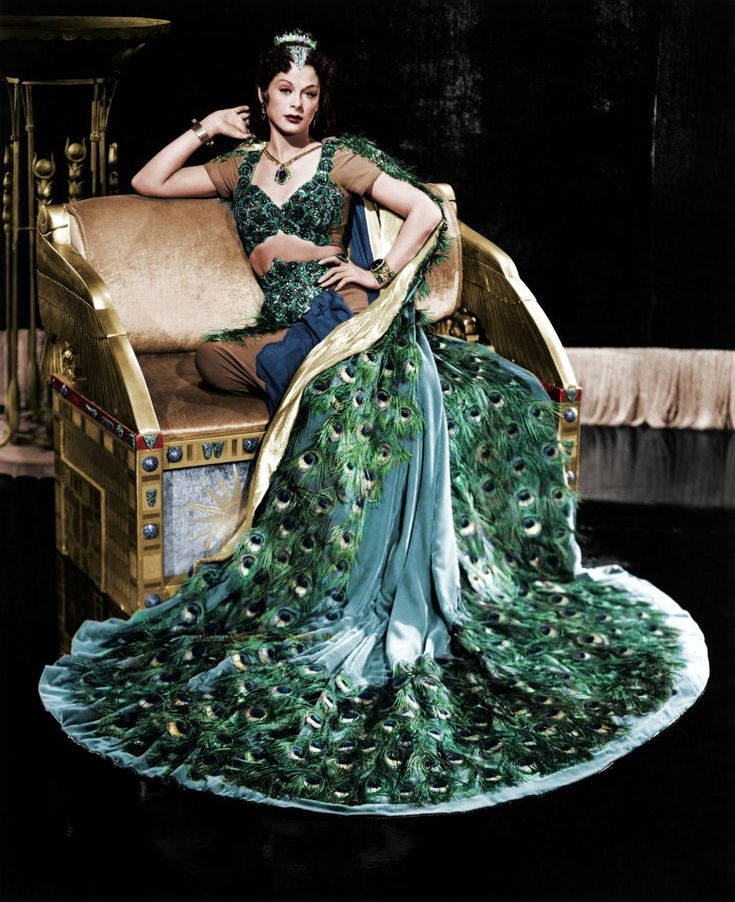Austrian actress and inventor Hedy Lamarr, wearing a 'peacock dress' in a promotional photo for the movie 'Samson and Delilah' (1949)