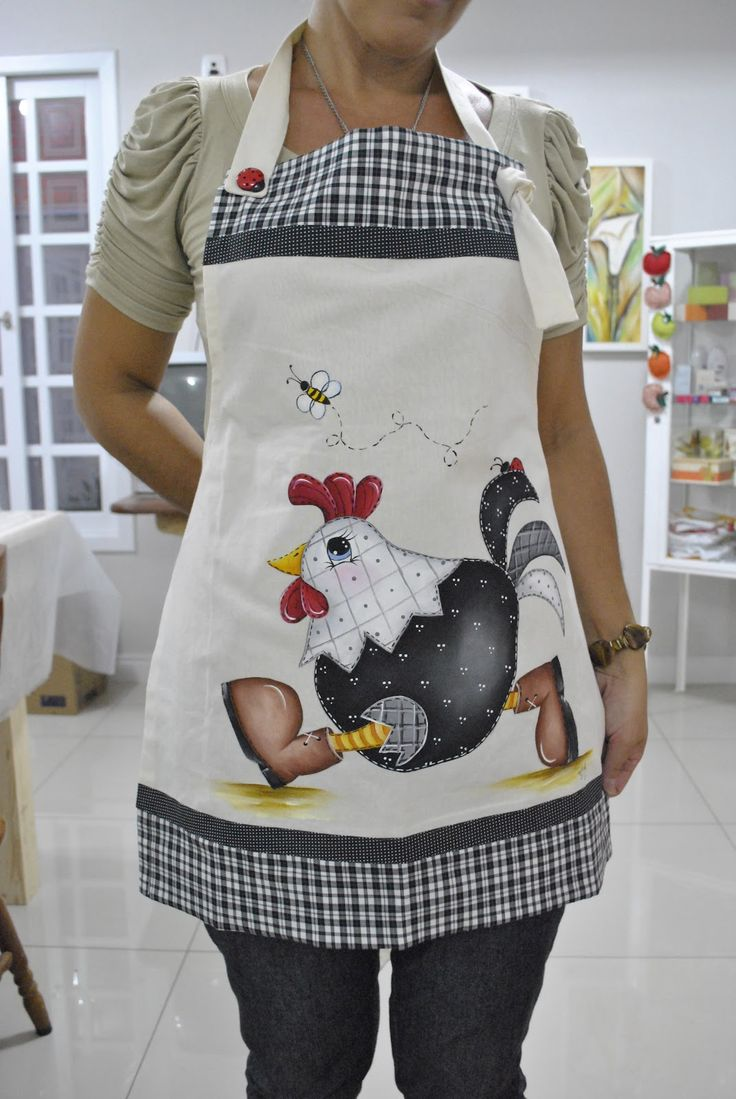 Avental de galo | Estefânia Artes: Avental de galo...I have no idea what this says but I love the chicken on this apron!