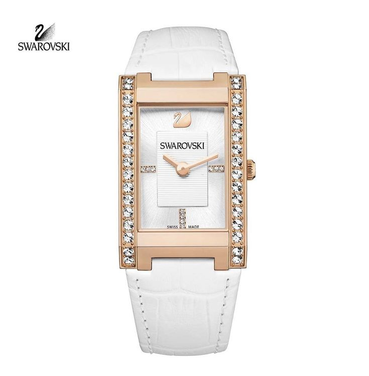 Swarovski Clear Crystal CITRA Square Rose Gold Swiss Watch White Leather #1094370