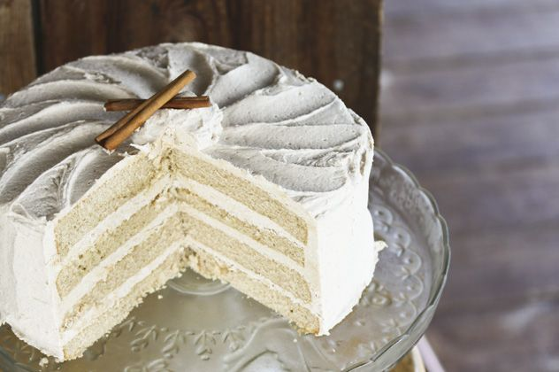 """This is my all-time most pinned recipe. Snickerdoodle Cake with Brown Sugar Buttercream Frosting. As my dad is fond of saying, """"Pass the insulin!"""""""