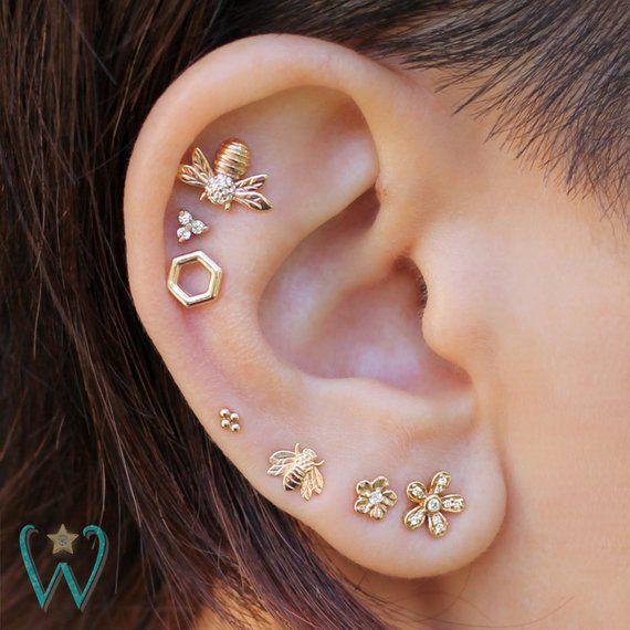 Honeycomb Earring Hexagon Stud Earrings Cartilage Earring Helix Earring Gold Earrings Snap Back Earrings Gift For Her Wishwhim Ear Jewelry Etsy Earrings Earings Piercings