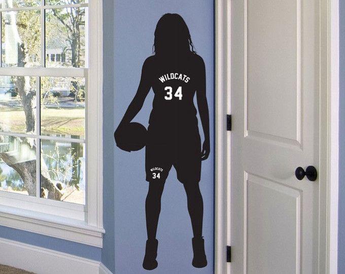 Mädchen Basketball Wall Decal – personalisierte Name – Sport Thema Room Decor – monogrammiert Vinyl Schriftzug – Teen Room – Basketball Decor   – ویترای