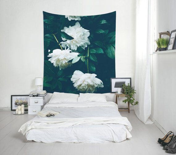 White Flowers Tapestry, Peonies Wall Art, Home Decoration, Floral Tapestry, Flower Decor, Nature Decor