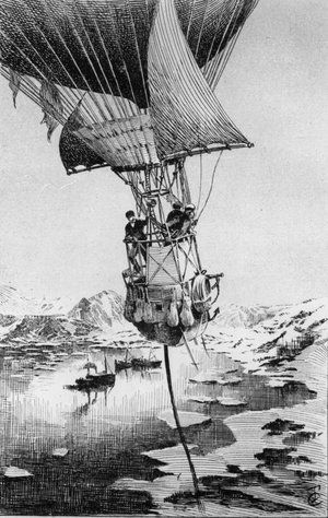 andree expedition book - An illustration from Joseph Lecornu's 1903 book La Navigation Aerienne depicts Swedish explorer S.A. Andree taking