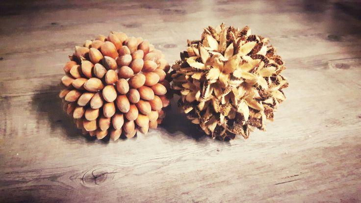 Haselnuss und Bucheckerball Herbstdeko