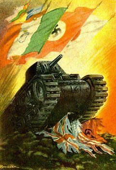 Italian propaganda postcard. Italian, German Nazi and Japanese flags fly above a tank crushing the ragged flags of the United Kingdom, the USA and The Soviet Union.