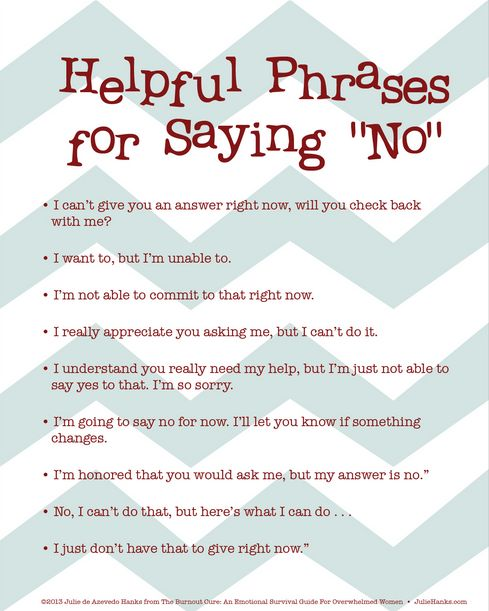 Louiza Hebhardt @Louiza Hebhardt @owenikin82 @Dennis Dill This might help 'Helpful Phrases for Saying No' #satchatoc pic.twitter.com/CN68yQ4l5Z