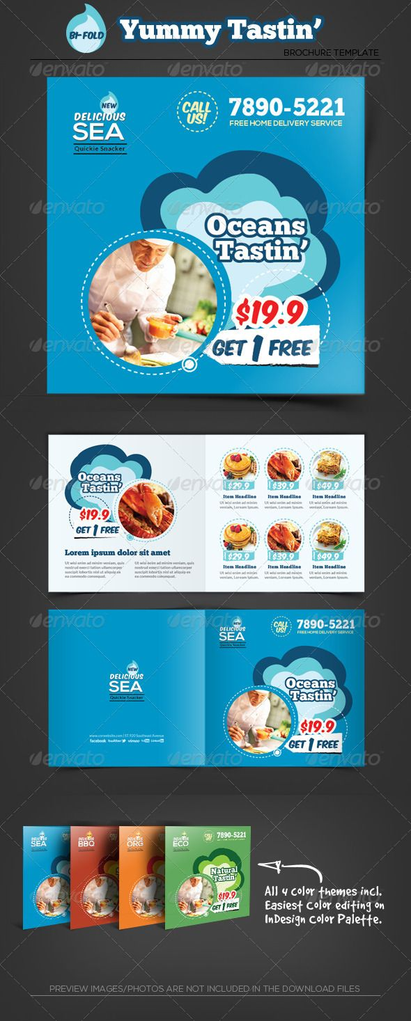 Yummy Tasting  BiFold Brochure Template #brochure #fast food  • Download here → https://graphicriver.net/item/yummy-tasting-bifold-brochure-template/5465346?ref=pxcr