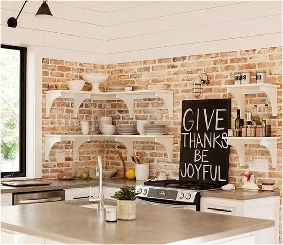 open shelving brick backdrop