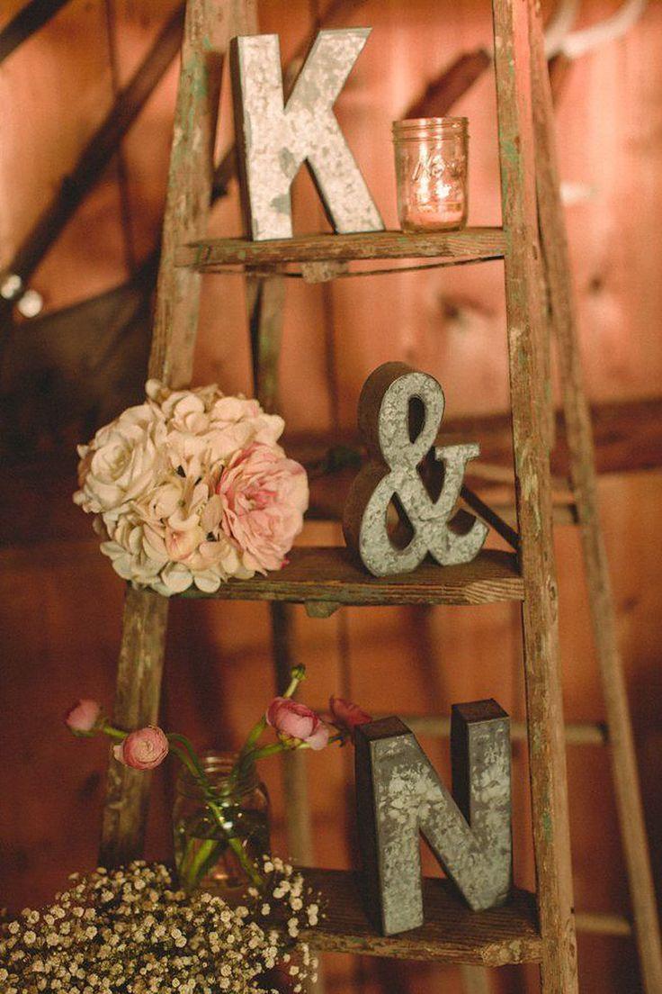 vintage ladder decoration for barn weddings