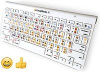 EmojiWorks Emoji Keyboard Pro Bluetooth Wireless Keyboard for Mac, PC, iOS iPhone iPad with Compact Computer Keyboard Emoji Shortcuts (White)