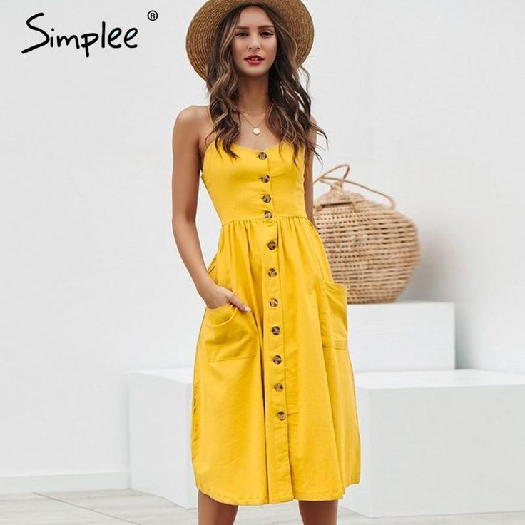 Elegant button women dress Pocket polka dots yellow cotton midi dress