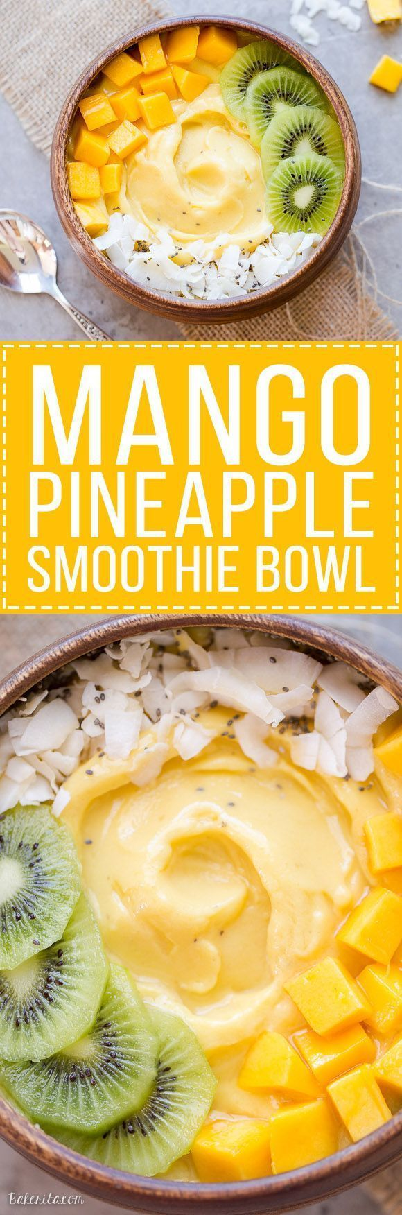 This Mango Pineapple Smoothie Bowl brings the tropics to your breakfast bowl! Customize the toppings on this ultra refreshing & healthy smoothie bowl for your ideal breakfast or snack. http://juicerblendercenter.com/choosing-between-a-masticating-or-a-centrifugal-juicer/