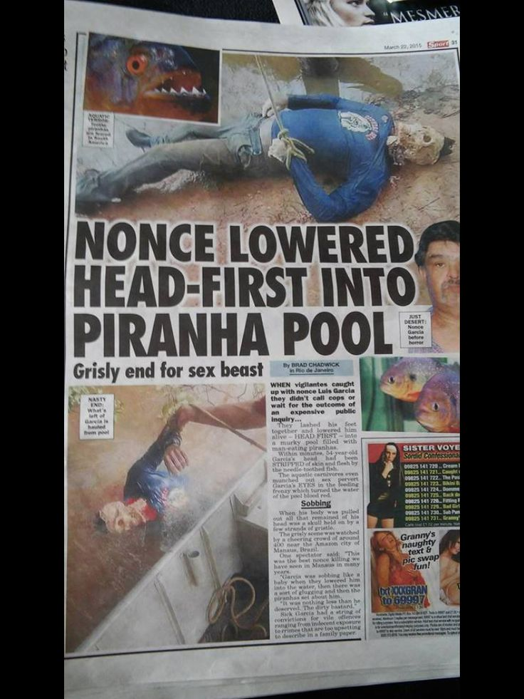 Nonce lowered headfirst into piranha pool  FUNNY