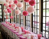 20 Tissue Pom Poms : nursery decor - baby shower - lanterns - pom flowers - bridal shower - wedding - pick your colors