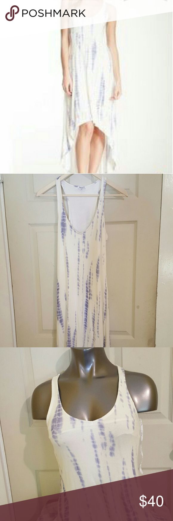 Anthropologie brand Splendid High Low Maxi Size XS Smoke free home  Excellent condition  Lined Maxi dress  Ivory and lilac  Super Cute!!! Splendid Dresses High Low