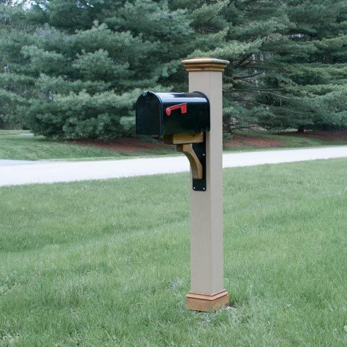 texture mailbox post sleeve with cedar trim and metal bracket - Mailbox Posts