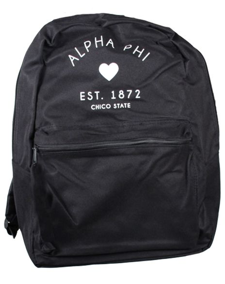 Alpha Phi 1872 Heart Backpack by Adam Block Design | Custom Greek Apparel & Sorority Clothes | www.adamblockdesign.com