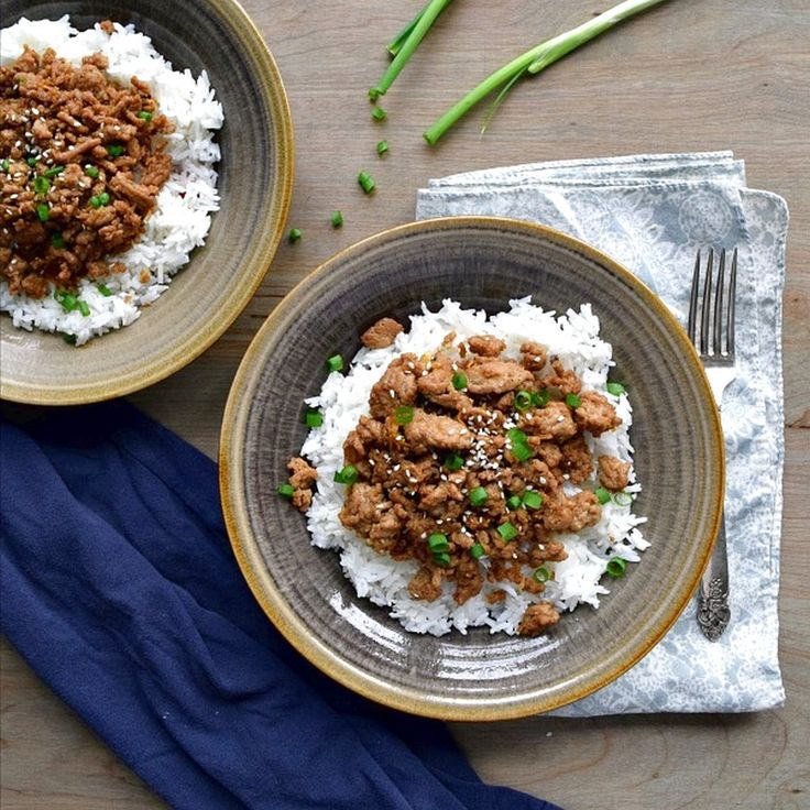 Korean Ground Turkey & Rice Bowls | Food Recipes