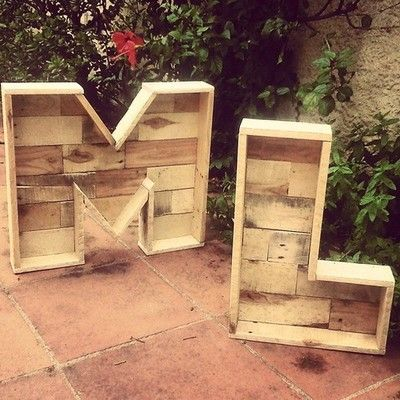 Wood pallet letters. #WoodPallets #Pallets #MarqueeLights