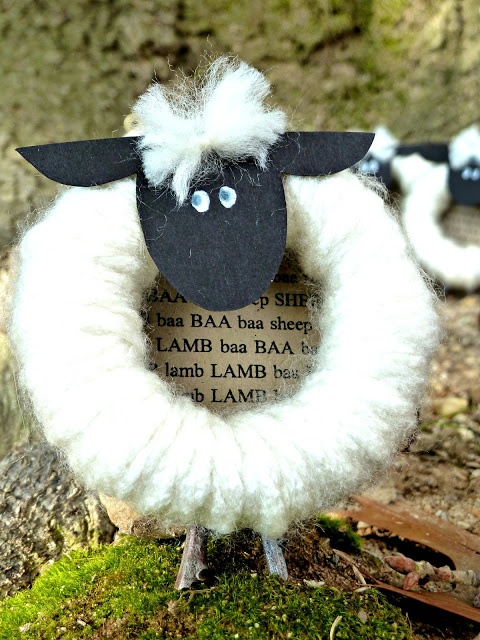 Spun by Me: A Flock; sheep based on pinspiration; could be an ornament!