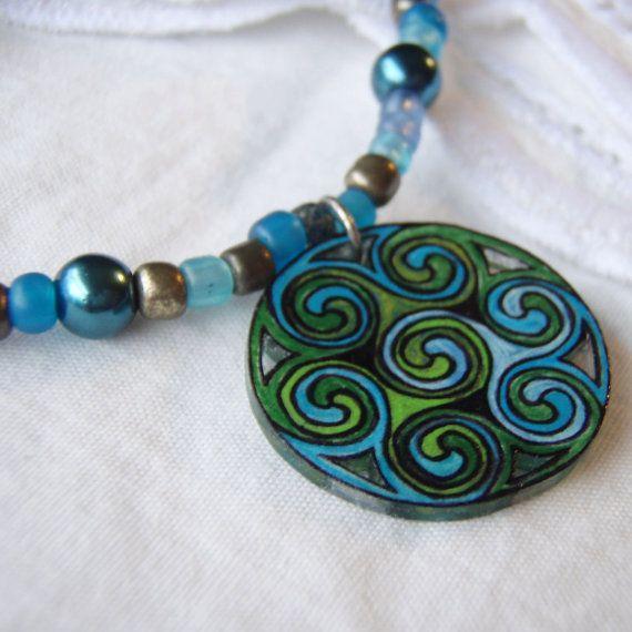 Celtic Swirl Necklace hand drawn shrink plastic by superquark, $30.00