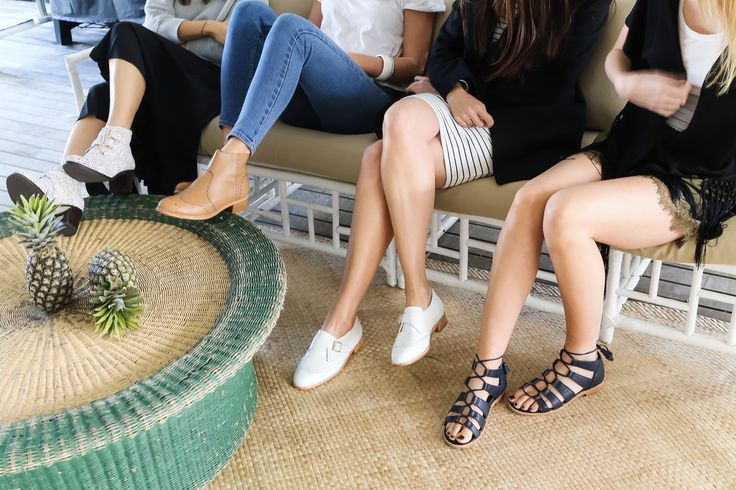 Ladies getting together in their Bared Footwear shoes in Byron Bay Pineapple Cottage.