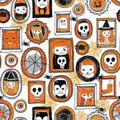 halloween // orange and black spider witch skull owl vampire creepy halloween fabric fabric by andrea_lauren on Spoonflower - custom fabric
