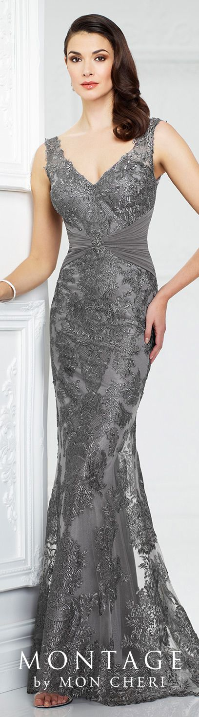 Formal Evening Gowns by Mon Cheri - Fall 2017 - Style No. 217942 - sleeveless gray metallic lace evening dress with ruched waistband