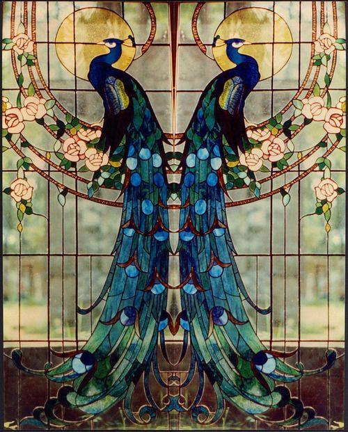 peacocks...stain glass window....love...