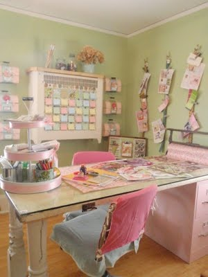 Pink and Green Scrapbooking Room - craft room inspiration