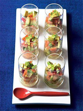 Scandinavian Ceviche    * 1 grapefruit  * 1/2 avocado  * 4 ounces pre sliced gravlax (or smoked salmon)  * 2 tbsp finely diced red onion