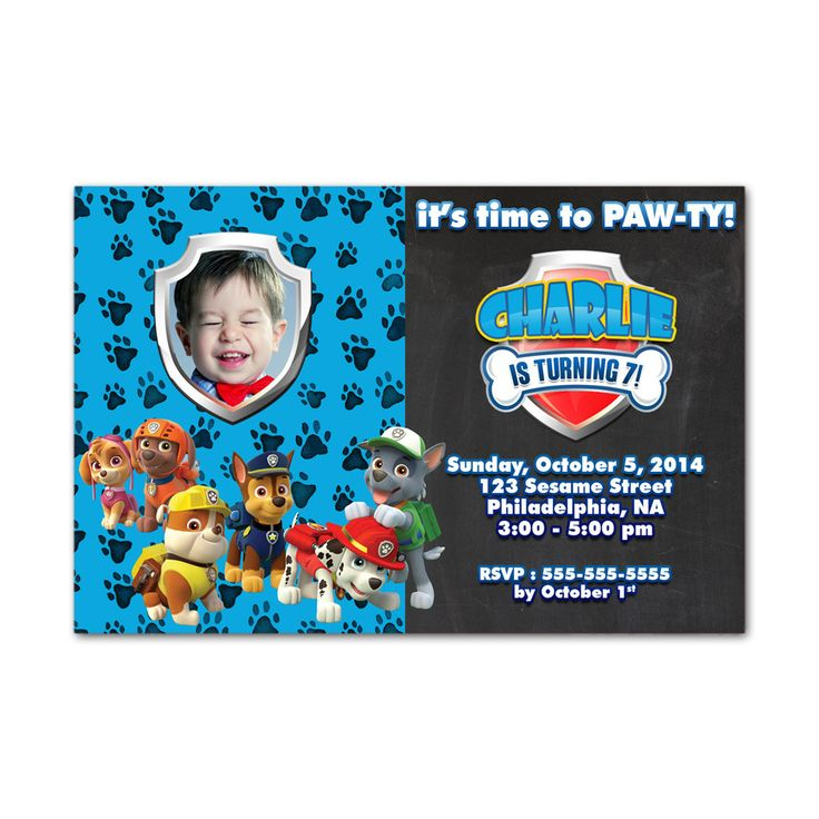 Paw Pawty Patrol Chalkboard Kids Birthday Invitation Party Design