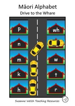 A Mori alphabet letter recognition activity for NZ junior students.  Print and laminate the sheets and place them together to form a road.  Your students drive a toy car along the road and park at the whare that is the answer to a question you give them (see one of the images for an example).