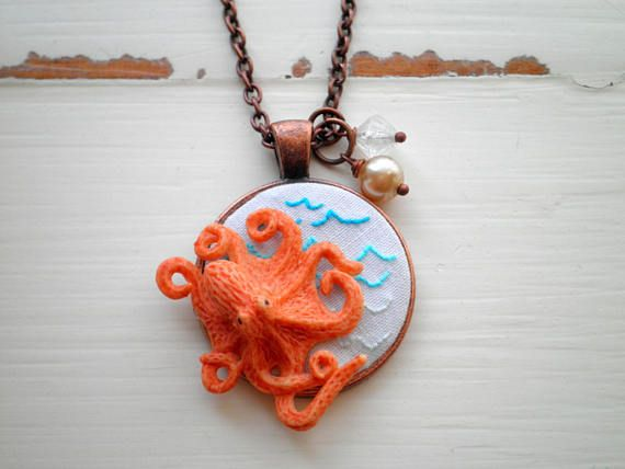 Octopus Necklace - Embroidered Ocean Waves Nautical Pendant - Summer Jewelry Gift.
