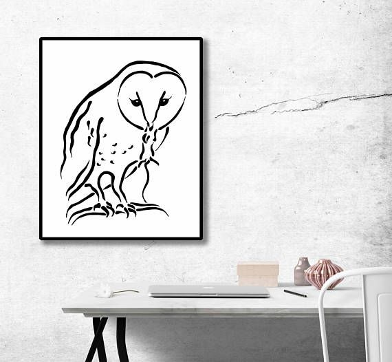 barn owl with mouse black and white vector drawing illustration preditor instant download ready to print