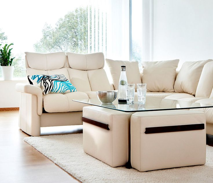 Stressless Sofa And Coffee Table With Removable Ottomans