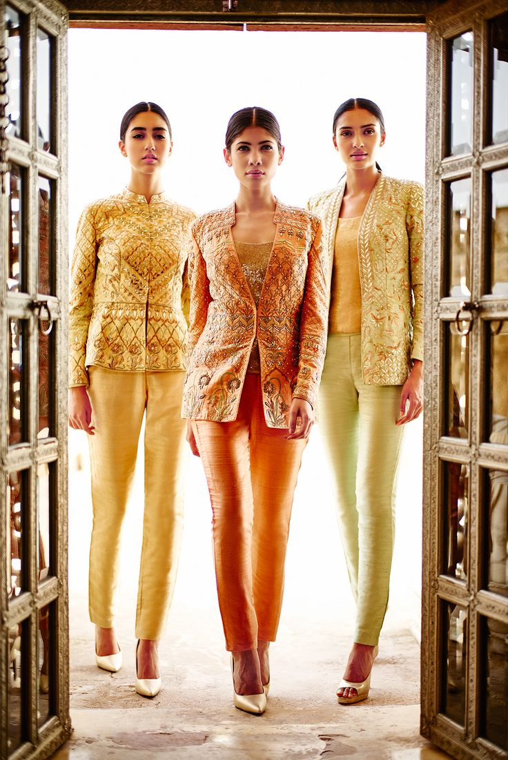 The #GlamSquad My girls strike a pose for the paparazzi in stunning jacket sets. From the left: the Sitara jacket set, Parnika jacket set and the Trisha jacket set. #TheWeddingDiaries #1135AD #AnitaDongre Shop online: shop.anitadongre.com