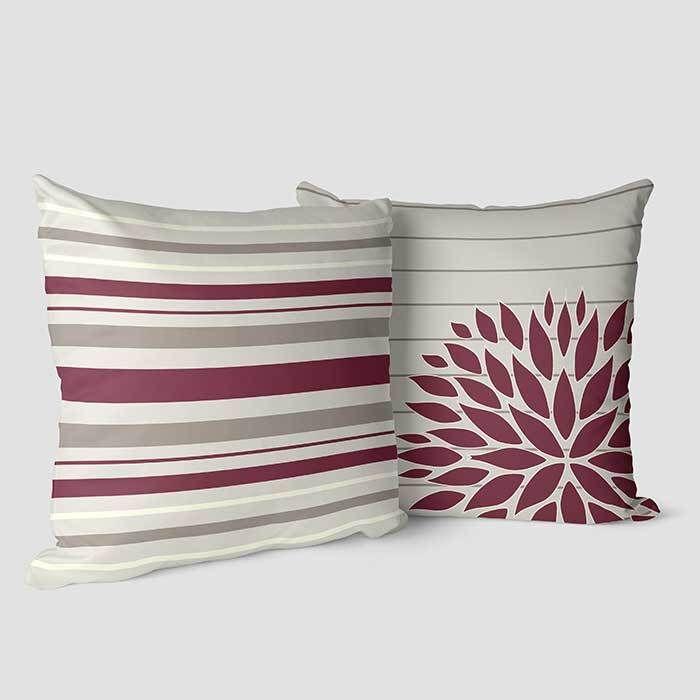 burgundy decorative pillows