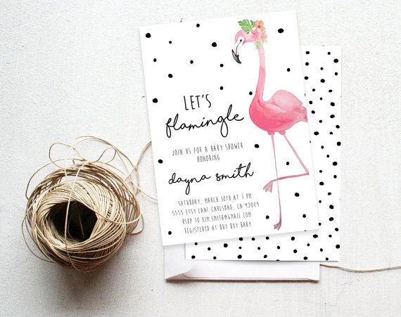 flamingo party invitation baby shower by on etsy