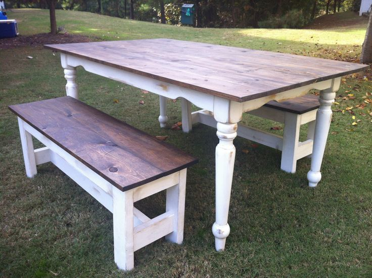 Farmhouse Table Distressed With Benches